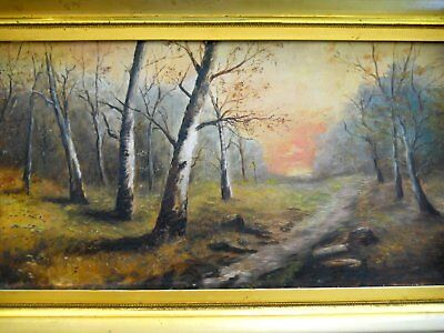 19th century Original Antique Sunset Wooded Trees Landscape Oil Painting Board