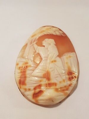 Lovely Vintage Large Cameo Shell, Two Figures - Victorian Perhaps?