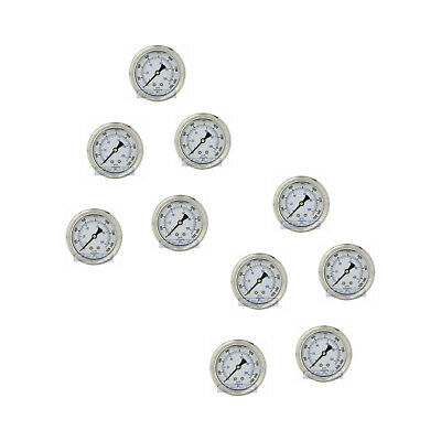 "10 Pack Liquid Filled Pressure Gauge 0-1500 Psi, 2.5"" Face, 1/4"" Back Mount Wog"