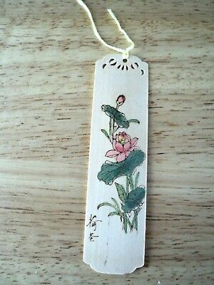 Vintage Hand Painted Small Wooden Bookmark Asian Japanese / Chinese