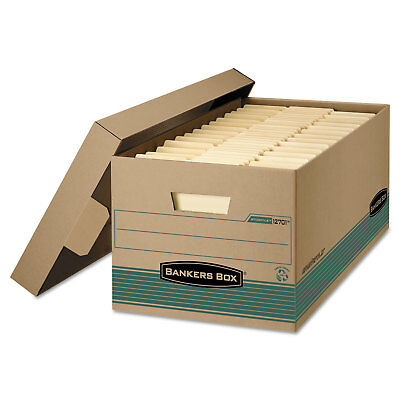 Bankers Box STOR/FILE Storage Box Legal Locking Lift-off Lid Kraft/Green 12