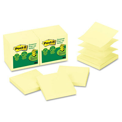 Post-it Recycled Pop-up Notes 3 x 3 Canary Yellow 100-Sheet 12/Pack R330RP12YW