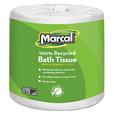 Marcal 100% Recycled Two-Ply Bath Tissue White 48 Rolls/Carton 6079