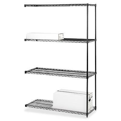 """Lorell Add-On Wire Shelving 4Shelves/2Posts 36""""x18"""" BK 69147"""