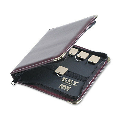 SteelMaster Portable Zippered Key Case 24-Key Leather-Like Vinyl Burgundy 8 3/8