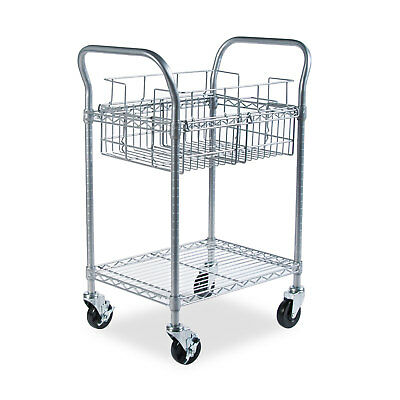 Safco Wire Mail Cart 600-lb Cap 18-3/4w x 26-3/4d x 38-1/2h Metallic Gray 5235GR