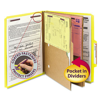 Smead Pressboard Folders with Two Pocket Dividers Letter Six-Section Yellow 10