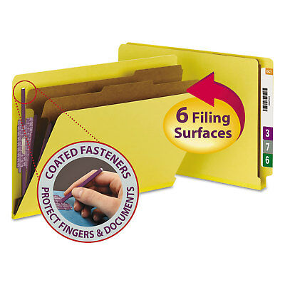 Smead Pressboard End Tab Classification Folders Legal Six-Section Yellow 10/Box