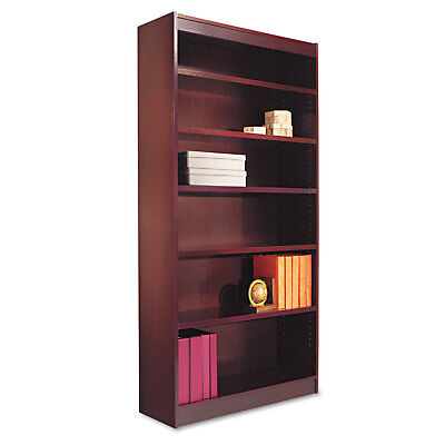 Alera Square Corner Wood Veneer Bookcase, Six-Shelf, 35-5/8w x 11-3/4d x 72h,