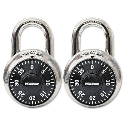 """Master Lock Combination Lock Stainless Steel 1 7/8"""" Wide Black Dial 2/Pack 1500T"""
