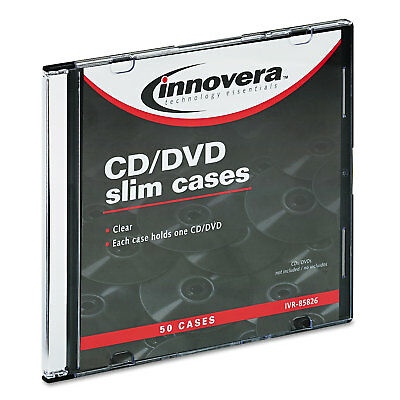 Innovera CD/DVD Polystyrene Thin Line Storage Case Clear 50/Pack 85826