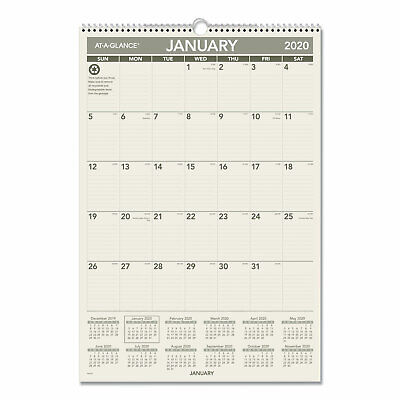 At-A-Glance Recycled Wall Calendar 15 1/2 x 22 3/4 2019 PM3G28