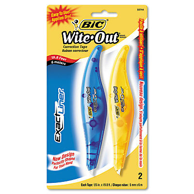 """Bic Wite-Out Exact Liner Correction Tape Pen 1/5"""" x 236"""" Blue/Orange 2/Pack"""
