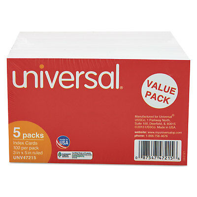 UNIVERSAL Ruled Index Cards 3 x 5 White 500/Pack 47215
