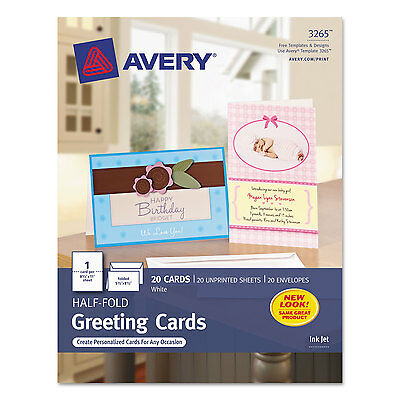 Avery Half-Fold Greeting Cards Inkjet 5 1/2 x 8 1/2 Matte White 20/Box w