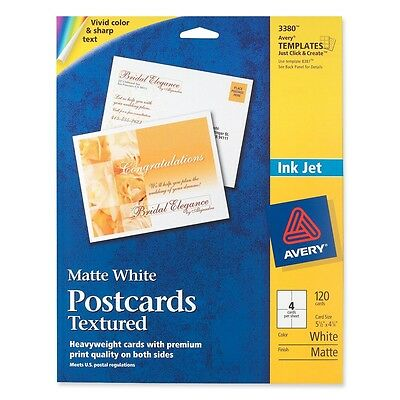 """Avery Post Cards Textured Card Size 4-1/4""""x5-1/2"""" Matte 120/BX WE 03380"""