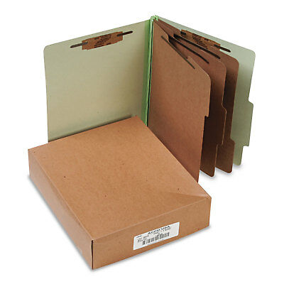 Acco Pressboard 25-Pt Classification Folders Letter 8-Section Leaf Green 10/Box