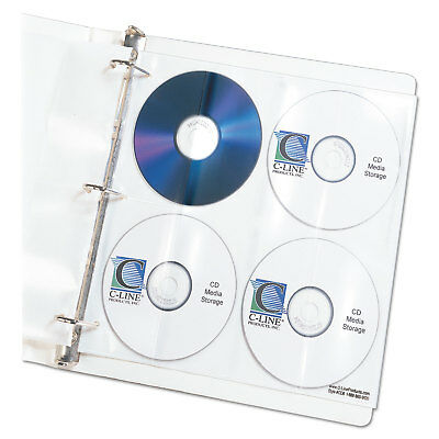 C-Line Deluxe CD Ring Binder Storage Pages Standard Stores 8 CDs 5/PK 61948