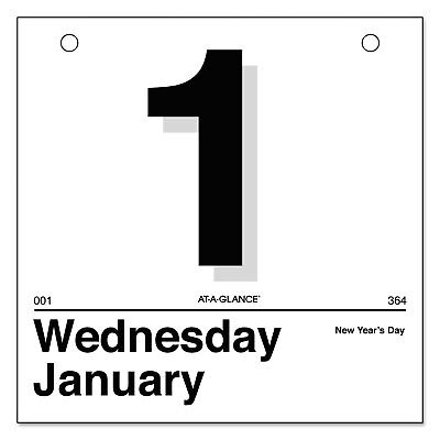 At-A-Glance Today Is Daily Wall Calendar Refill 6 x 6 White 2019 K150