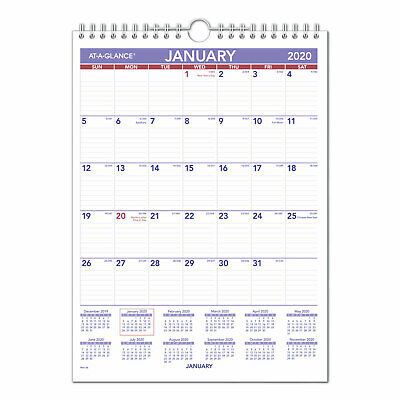 At-A-Glance Monthly Wall Calendar with Ruled Daily Blocks 8 x 11 White 2019