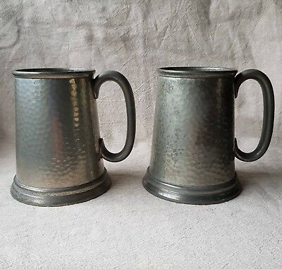 Two Vintage Pewter Tankards-James Dixon and Sons, 1927, Abercrombie and Fitch