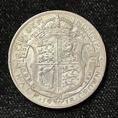 1918 1/2 CROWN - GREAT BRITAIN *GREAT OLD BRITISH SILVER - GEORGE V - Lot#A676