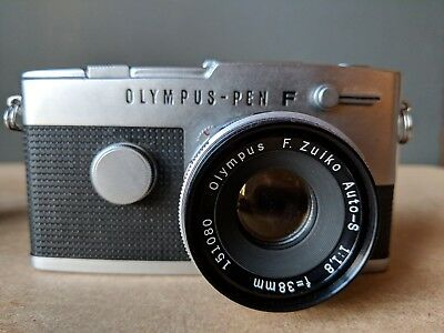 Olympus Pen-FT half-frame 35mm camera with lens, case & photocopied manual