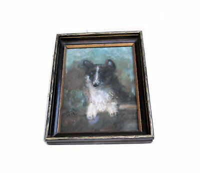 Original Antique Small 1916 Victorian Border Collie Dog Pastel Painting Portrait