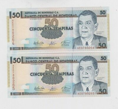 Honduras Paper Money 2 old notes uncirculated