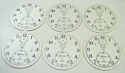 Lot Of 6 Vintage Elgin Model 600 Ships Chronometer Clock Dial Parts Repair