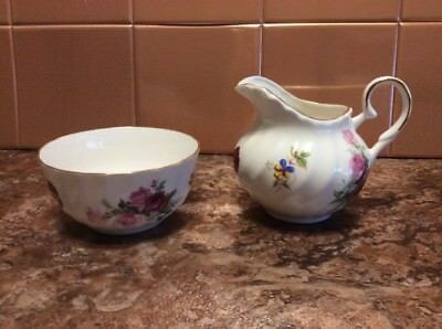 Staffordshire Royal Victorian Floral Rose Open Sugar And Creamer Pitcher