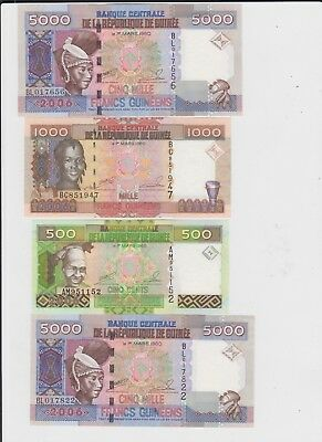 Guinea  Paper Money 4 old notes uncirculated
