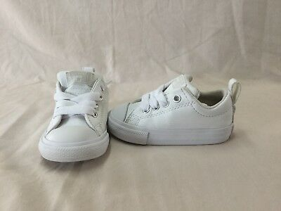 Converse All Star Chuck Taylor Toddler Boys White Leather Shoes~size 5 C