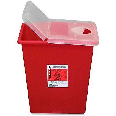 Covidien Biohazard Sharps Container W/Hinged Lid/Rotor 8 Gal. Red SSHL100980