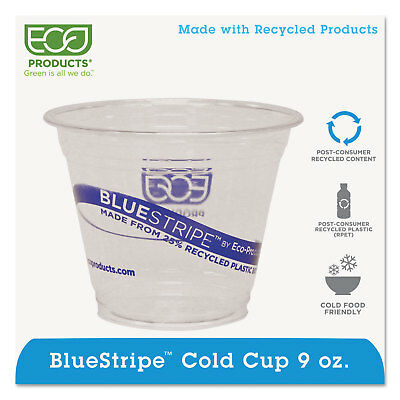 Eco-Products BlueStripe 25% Recycled Content Cold Cups 9 oz. Clear/Blue 50/Pk 20