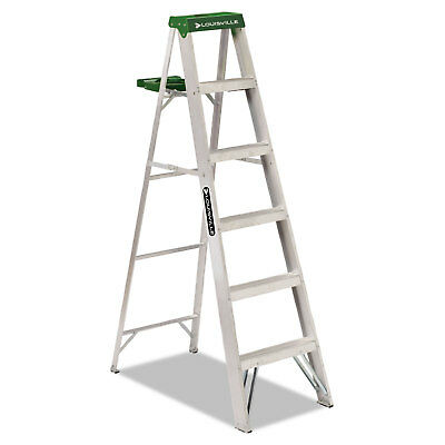 Louisville #428 Folding Aluminum Step Ladder 6 ft 5-Step Green AS4006