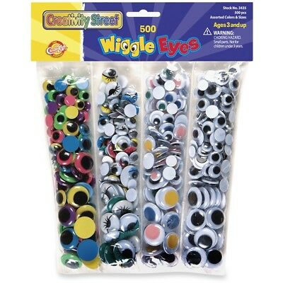 Chenille Kraft Wiggle Eyes 500/PK Assorted Colors/Sizes 3435