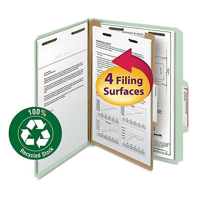 """Smead Classification Folder One Divider 2"""" Exp. 2/5 Cut Letter Gray/Green 10/Box"""