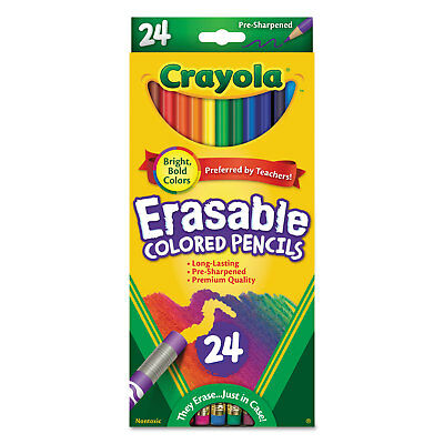 Crayola Erasable Colored Woodcase Pencils 3.3 mm 24 Assorted Colors/Box 682424