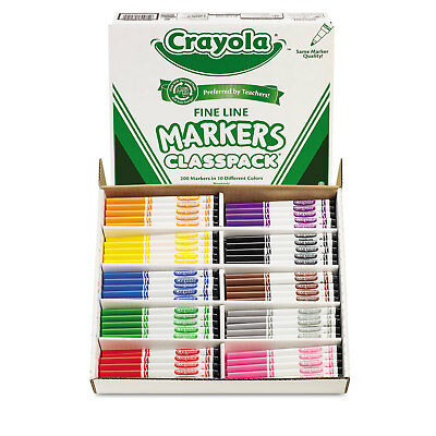 Crayola Non-Washable Classpack Markers Fine Point Ten Assorted Colors 200/Box