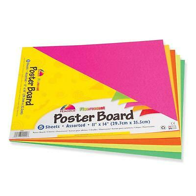 "Pacon Poster Board Recyclable 11""x14"" 5 Sh/PK Fluorescent Asst. 5412"