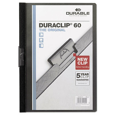 Durable Vinyl DuraClip Report Cover w/Clip Letter Holds 60 Pages Clear/Black