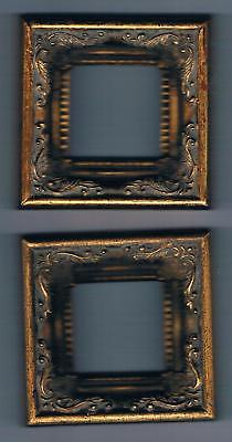 """Lot of two 2"""" x 2"""" Frames for Cross Stitch Antique Gold Wood by Valley Moulding"""
