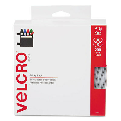 """Velcro Sticky-Back® Fasteners 3/4"""" dia. Coins White 200/BX 91824"""