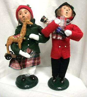 Lot 2 Byers Choice The Carolers Traditional Boy Girl Child W/ Toy Soldier Candy