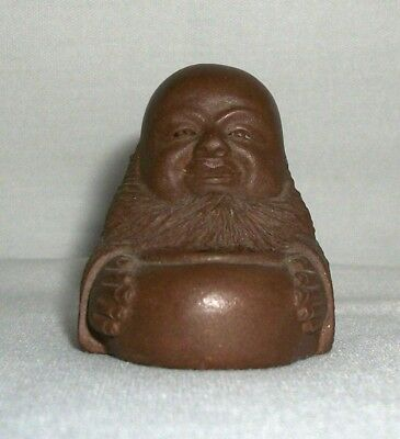 Vintage Signed Brown Clay Ceramic Figurine Man Buddha Chinese Asian Sculpture