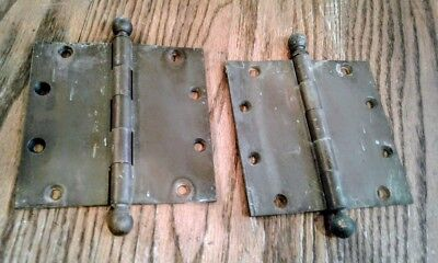 2 Antique,Vintage YALE & TOWNE cast brass door hinges - patented Nov.22 1887