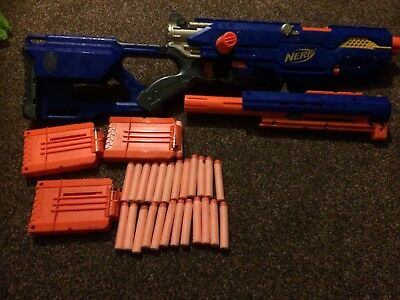 NERF N-STRIKE LONGSTRIKE CS-6 (RARE) and 3 no. Dart Mags and Spare foam bullets