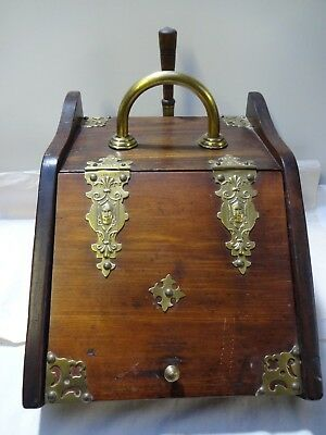 Stunning Antique Victorian/edwardion Brass & Wood Coal Sctuttle/wood Pod.