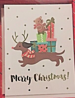 "Boxed Set of 16 Dachshund Doxie Sausage Dog Holiday ""Merry Christmas"" Cards MIB"